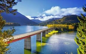 Германия, природа, мост, деревья, озеро sylvenstein, река