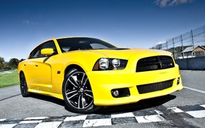 yellow, Dodge, road, cars