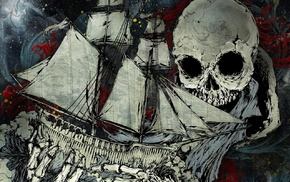drawing, skull, Atreyu, boat, paint splatter