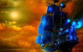 art, sailfish, sea, Sun, photoshop