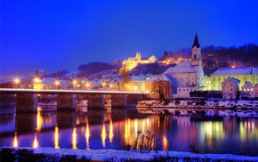 church, lights, river, evening, Germany, winter