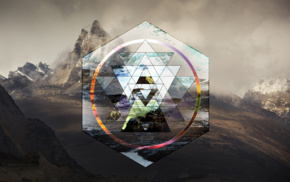 triangle, mountain, polyscape, sri yantra, landscape, hexagon