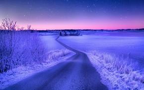 дорога, пейзаж, закат, звезды, поле