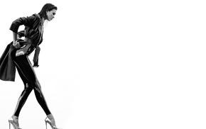 bodysuit, tight clothing, jacket, heels, monochrome, Karlie Kloss