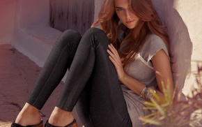 legs, Clara Alonso, black pants, brunette, sitting