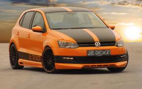 VW, оранжевый, автомобили, дорога