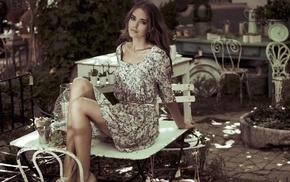 sitting, heels, Clara Alonso, legs, brunette, floral