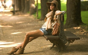 girl, girl outdoors, legs, Clara Alonso, brunette, sitting