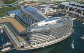 Formula 1, building, water, stunner, track