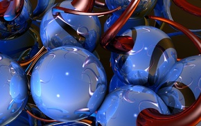 balloon, blue, reflection, red, 3D