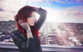 rooftops, city, tattoo, redhead, girl, sunlight