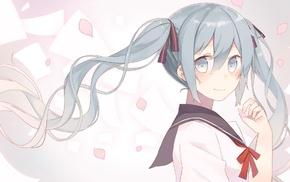 Vocaloid, school uniform, twintails, anime girls, Hatsune Miku