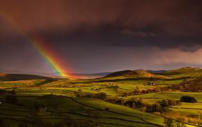 sky, rainbow, spring, nature, England