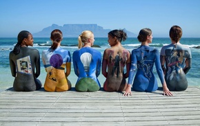 colors, painted bodies, girls, девушки, mood, sea