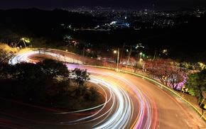 light trails, long exposure, night, hairpin turns, road