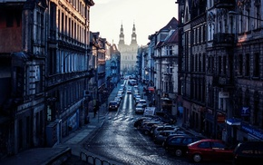 street, morning, Poznan, Poland, church, cityscape