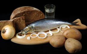картошка, кольца, селёдка, Чёрный хлеб, луковица, вкусно