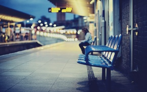 bench, bokeh, railway station, bricks, depth of field