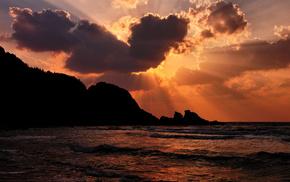 закат, красивые, скалы, пляж, волна, небо