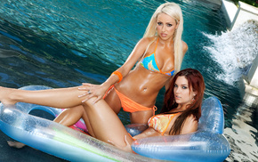 swimming pool, summer, girls