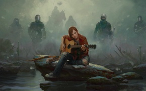 rain, The Last of Us, guitar, police, military, bows