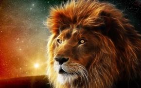 glade, lion, fantasy, photoshop, stars