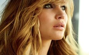 зеленые глаза, лицо, девушка, Дженифер Лоуренс, блондинка