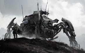 concept art, fantasy art, artwork, mech, war