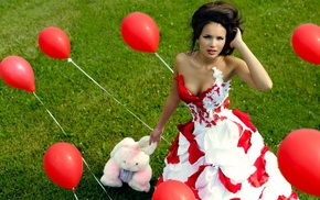 stuffed animals, balloons, boobs, girl