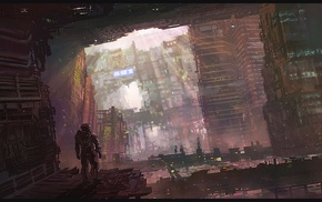 city, concept art, fantasy art, futuristic, artwork