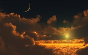moon, Sun, photoshop, satellite, space