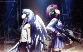 school uniform, Tachibana Kanade, wings, Nakamura Yuri, Angel Beats