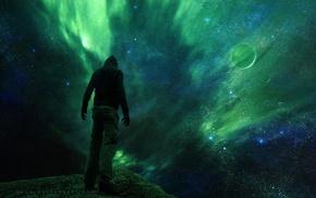 зеленый, планета, звезды, космос, ночь