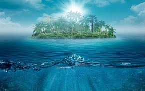 summer, Sun, water, fantasy, island