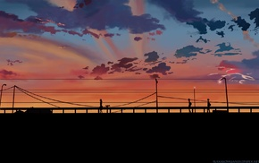 power lines, sunset, utility pole, 5 Centimeters Per Second, clouds, bridge