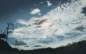 power lines, grass, 5 Centimeters Per Second, utility pole, clouds