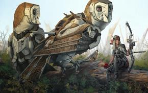 футуризм, сова, луки, робот