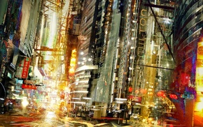 Daniel Dociu, science fiction, concept art, lights, cityscape, artwork