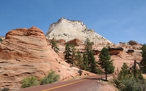 природа, деревья, скалы, дорога, красота, небо