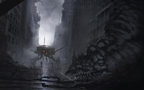 city, soldier, destruction, creature, concept art, artwork