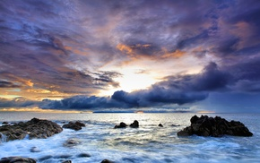 clouds, rock, nature, sunset, sea