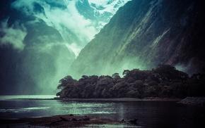 горы, деревья, вода, лес, туман