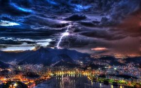 mountain, city, evening, cities, bay