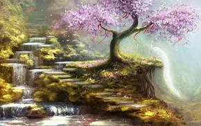 waterfall, art, painting, stunner, painting
