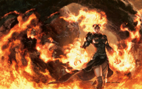 Jason Chan, fire, Chandra Nalaar, Planeswalkers, goggles, orange