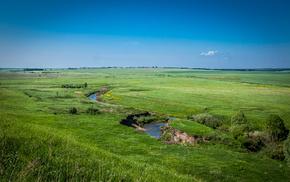 река, дорога, Долина реки, трава, долина, деревья