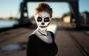 portrait, girl, Sugar Skull, face