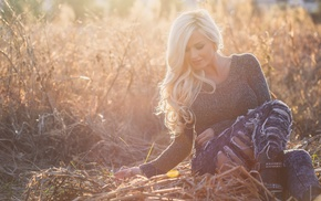 sunset, blonde, positive, evening, fashion model