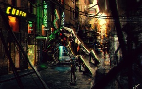 concept art, robot, urban, artwork, fantasy art, city
