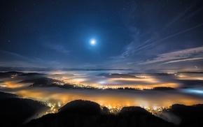 moon, city, mist, trees, night, stars